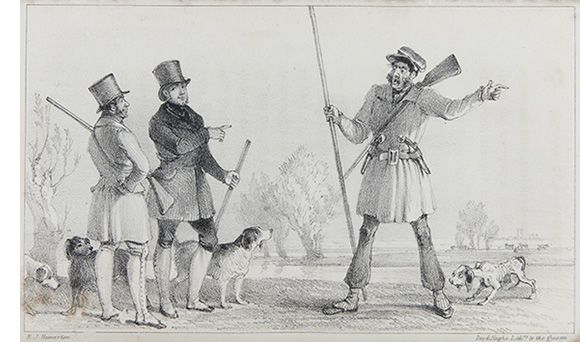 Tolfrey is probably the centre figure, plate from The Sportsman in France